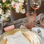 Pink Depression Glasses and Vintage Place Settings