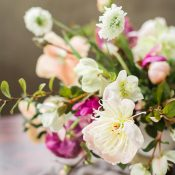 Romantic Peach and Plum Centerpiece