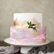 Watercolor Wedding Cake with Gold Leaf