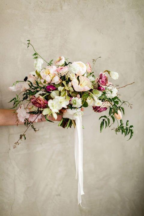 Enchanting Wedding Flowers In Peach And Plum Hey Wedding
