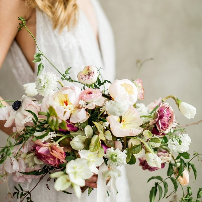Enchanting Wedding Flowers In Peach And Plum