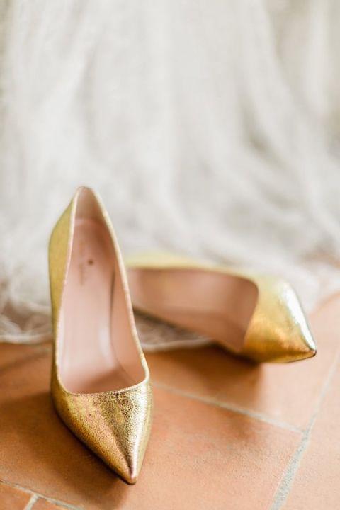 Modern Gold Bridal Shoes
