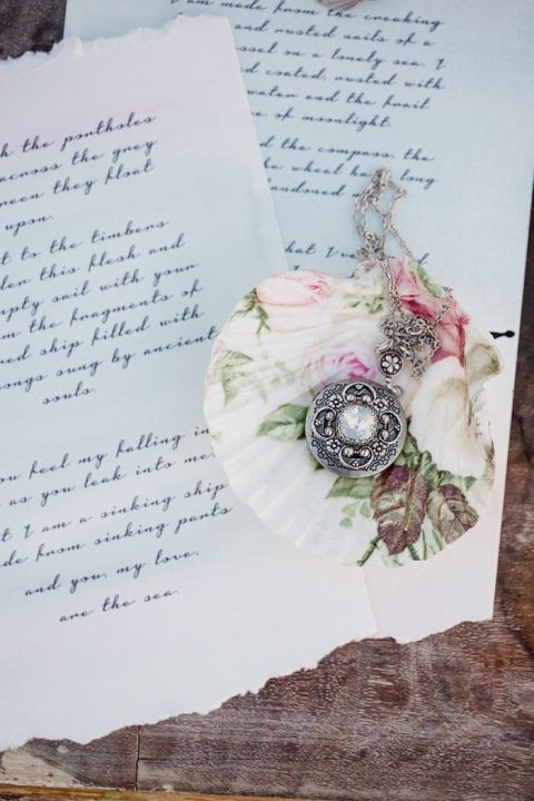 Antique Locket and Letters with a Floral Print Sea Shell