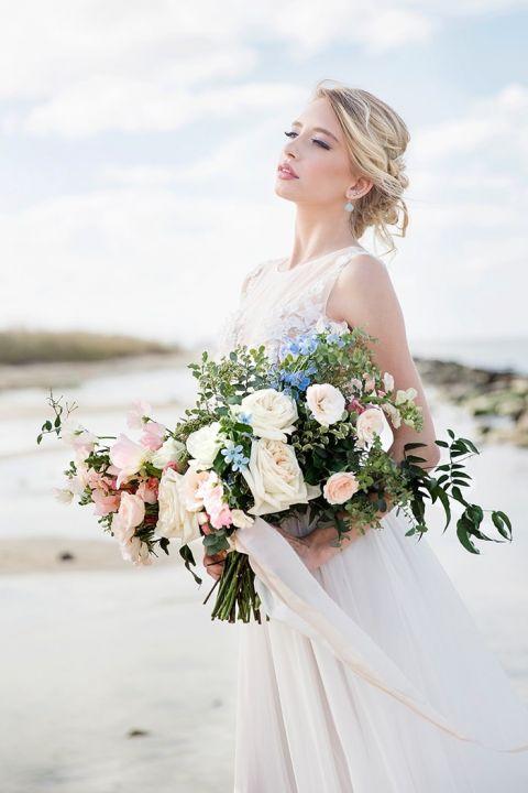 Dreamy Coastal Wedding Shoot in Romantic Pastels