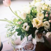 Ivory and Blush Centerpiece with Cut Crystal Glassware