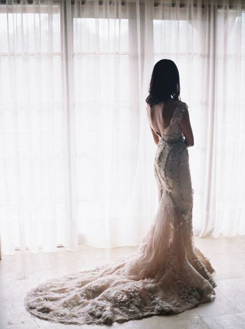 Romantic Couture Wedding Dress with a Deep Back