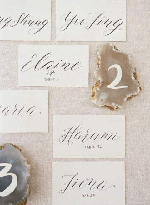 Calligraphy Escort Cards and Geode Table Numbers
