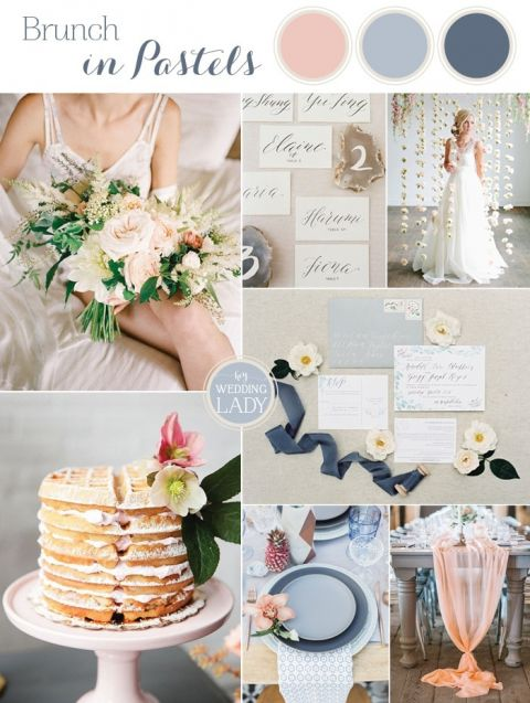 Summer Brunch Wedding Ideas In Peach And Blue With A Waffle Cake