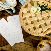 Calligraphy Menus with a Lattice Work Apple Pie