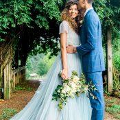 Romantic Dusty Blue and Navy Wedding Portraits