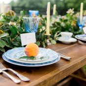 Southern Greenery Garland with Vintage Blue Place Settings and Georgia Peaches