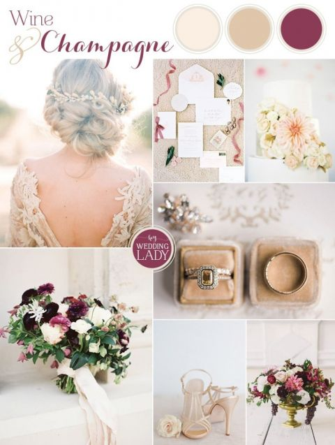 Enchanting Fall Wedding Palette Inspiration in Champagne and Wine