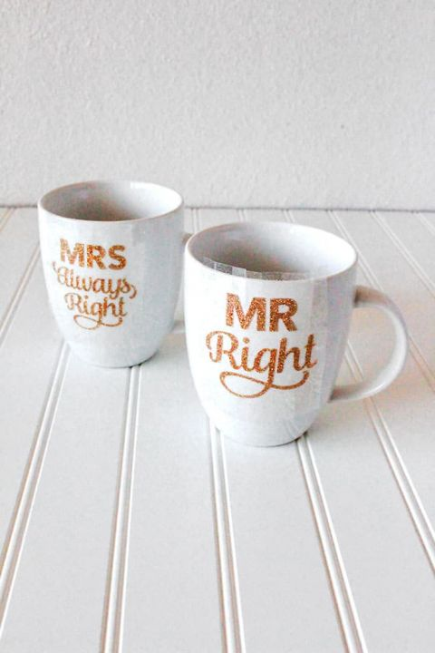 Diy Gold Glitter Mug For Mr Right And Mrs Always Right