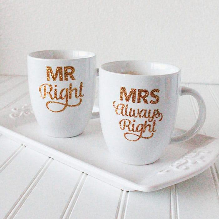 diy gold glitter mug for mr right and mrs always right. Black Bedroom Furniture Sets. Home Design Ideas