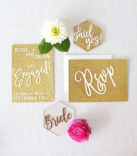 Gold Glitter Invitations for a Glam Engagement Party