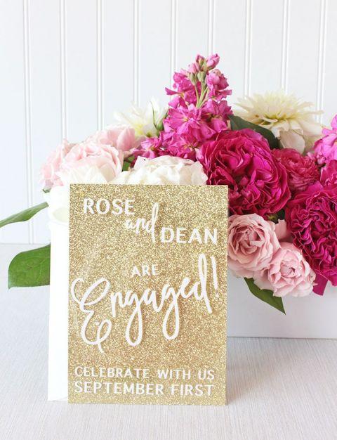Cricut Wedding Invitations 14 Amazing Gold Glitter Invitations with