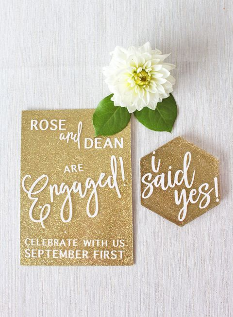 Gold Glitter Engagement Party Invitations with Laser Cut Details