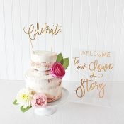 Whimsical Modern Wedding Cake Table with Laser Cut Decor