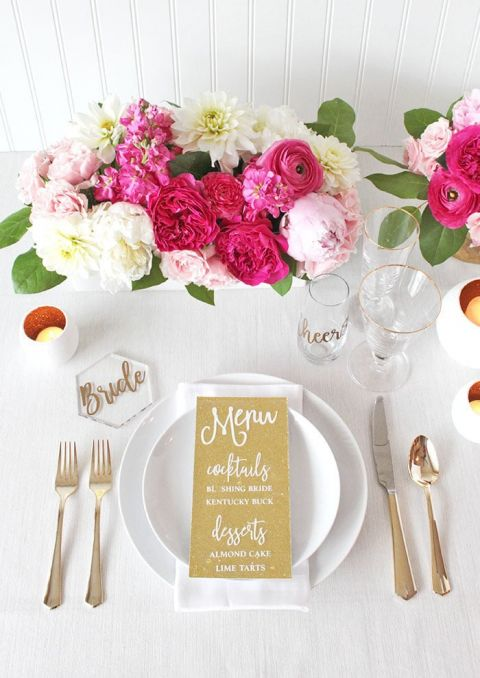 Pink and Gold Engagement Party Place Setting with Laser Cut Menu
