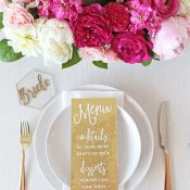 Modern Gold Escort Cards with Laser Cut Lettering