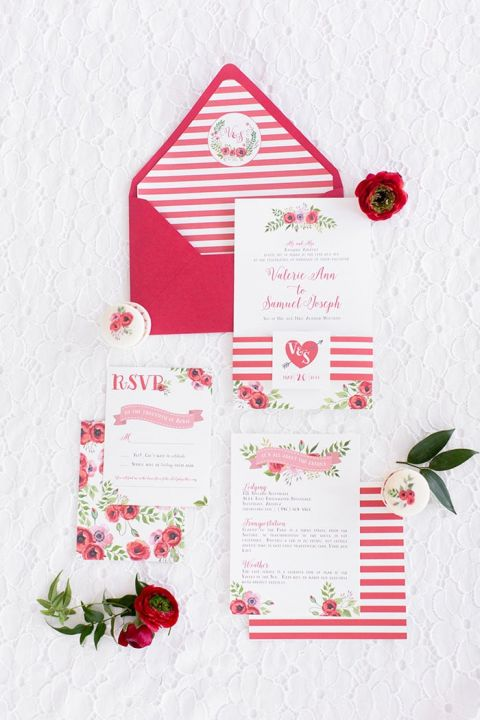 Red and White Striped Wedding Invitations with Floral Print