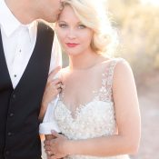 Magic Hour Wedding Photos in a Couture Wedding Dress