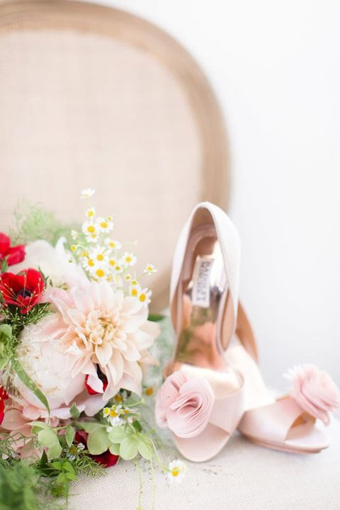 Blush and Red Bouquet with Ruffled Wedding Shoes