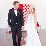 Retro Glam Wedding Shoot in Poppy Red and Gold