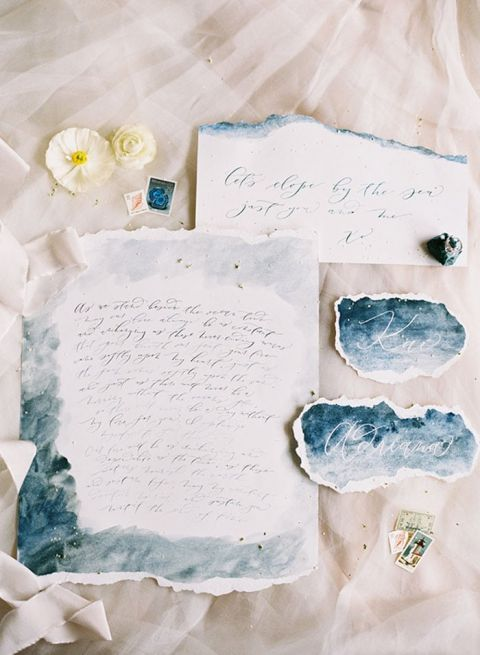 Indigo Blue Watercolor and Calligraphy Wedding Invitations