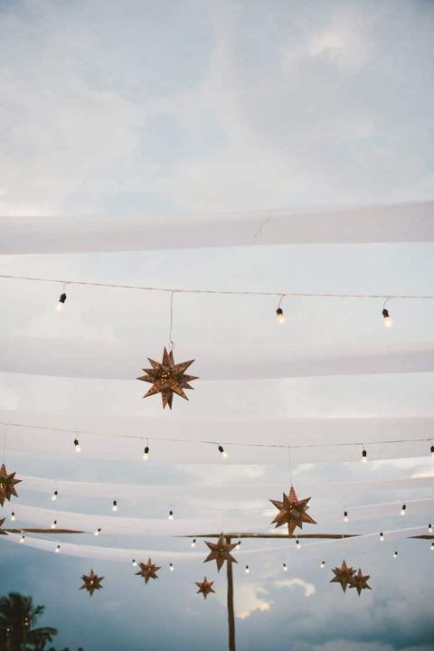 Bistro Lights and Star Lanterns for a Starry Night Wedding Reception