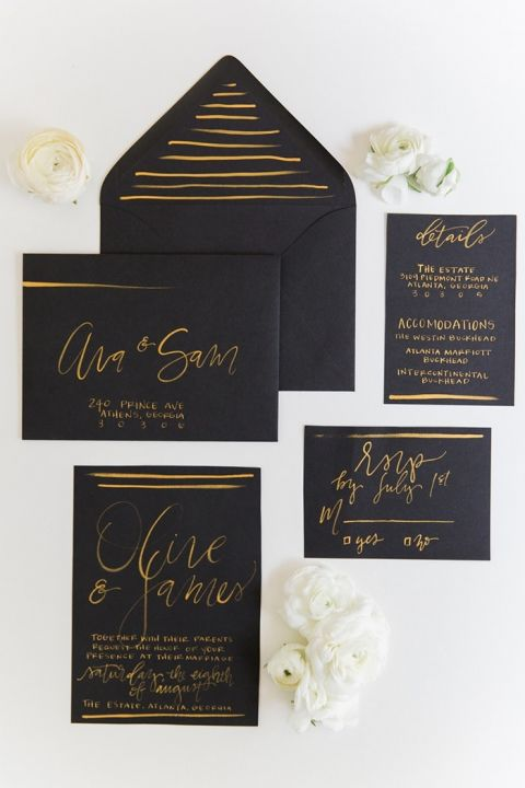 Organic industrial wedding ideas in black and gold hey wedding lady - Black and gold wedding reception decorations ...