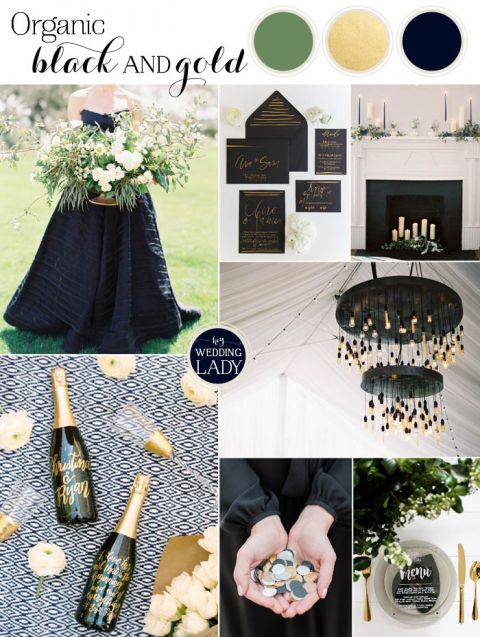 Organic Industrial Wedding Ideas In Black And Gold