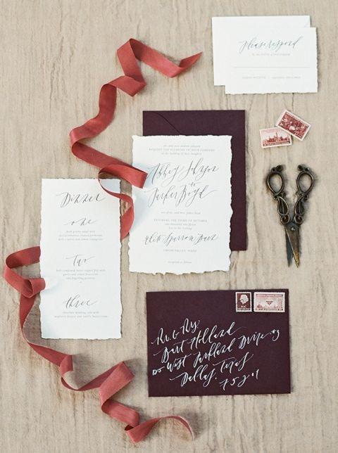Rich Purple Rustic Wedding Invitations