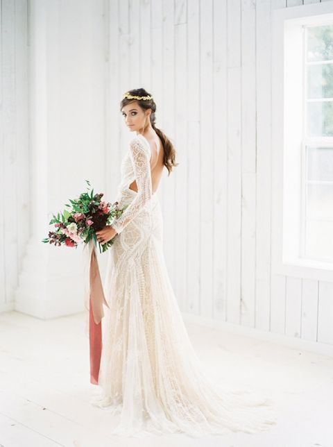 Romantic Long Sleeve Lace Wedding Dress with an Open Back