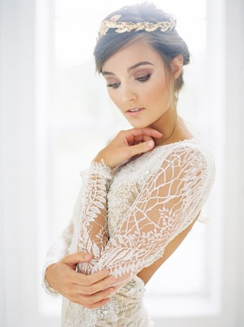 Romantic Lace Wedding Dress with a Gold Bridal Headpiece