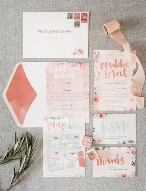 Coral Watercolor Wedding Invitations