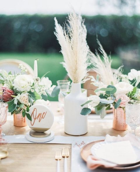 Marble And Copper Wedding Decor With Bohemian Florals