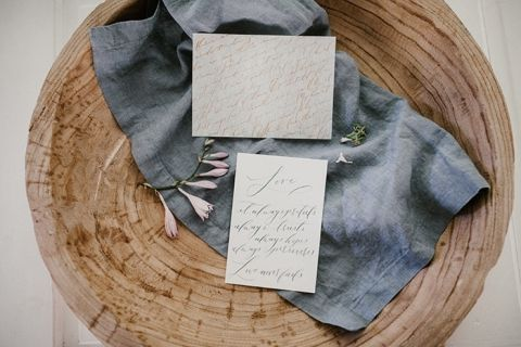 Dusty Blue and Rose Gold Wedding Stationery