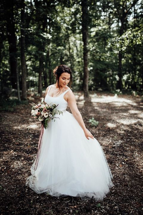 Ethereal Bridal Separates with a Full Tulle Skirt