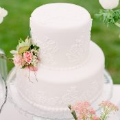 Floral Lace Patterned Wedding Cake