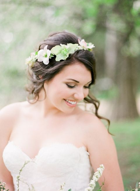 Romantic Bridal Updo with a Flower Crown