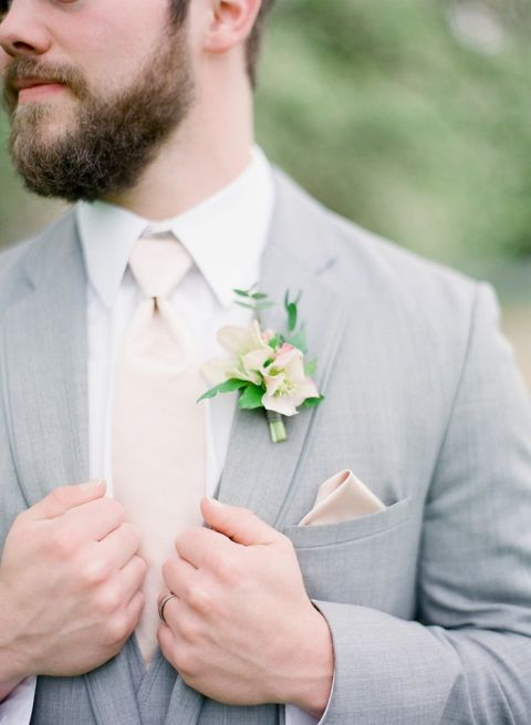 Southern Groom in Gray and Peach