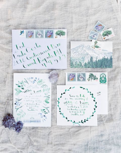Delicate Watercolor Wedding Invitation Painted by the Bride