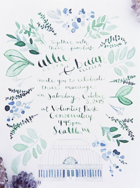 Botanical Watercolor Invitation for a Conservatory Wedding