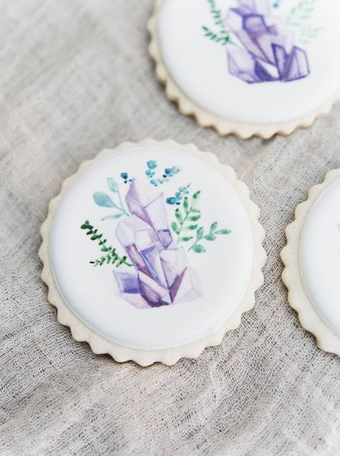 Hand Painted Gemstone Cookie Favors