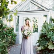 Romantic Conservatory Wedding with a Purple Dress