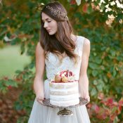 Fall Bride with a Naked Wedding Cake