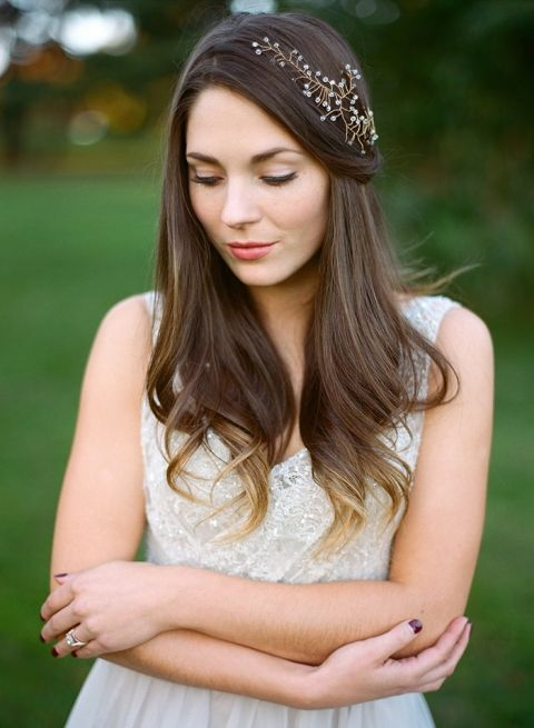 Half Up Bridal Hairstyle with a Pearl Headpiece
