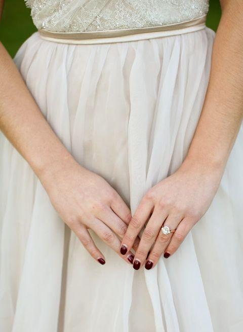 Burgundy and Metallic Bridal Manicure