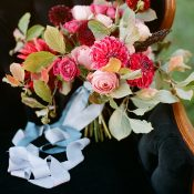 Pink and Burgundy Fall Bouquet with Blue Ribbons